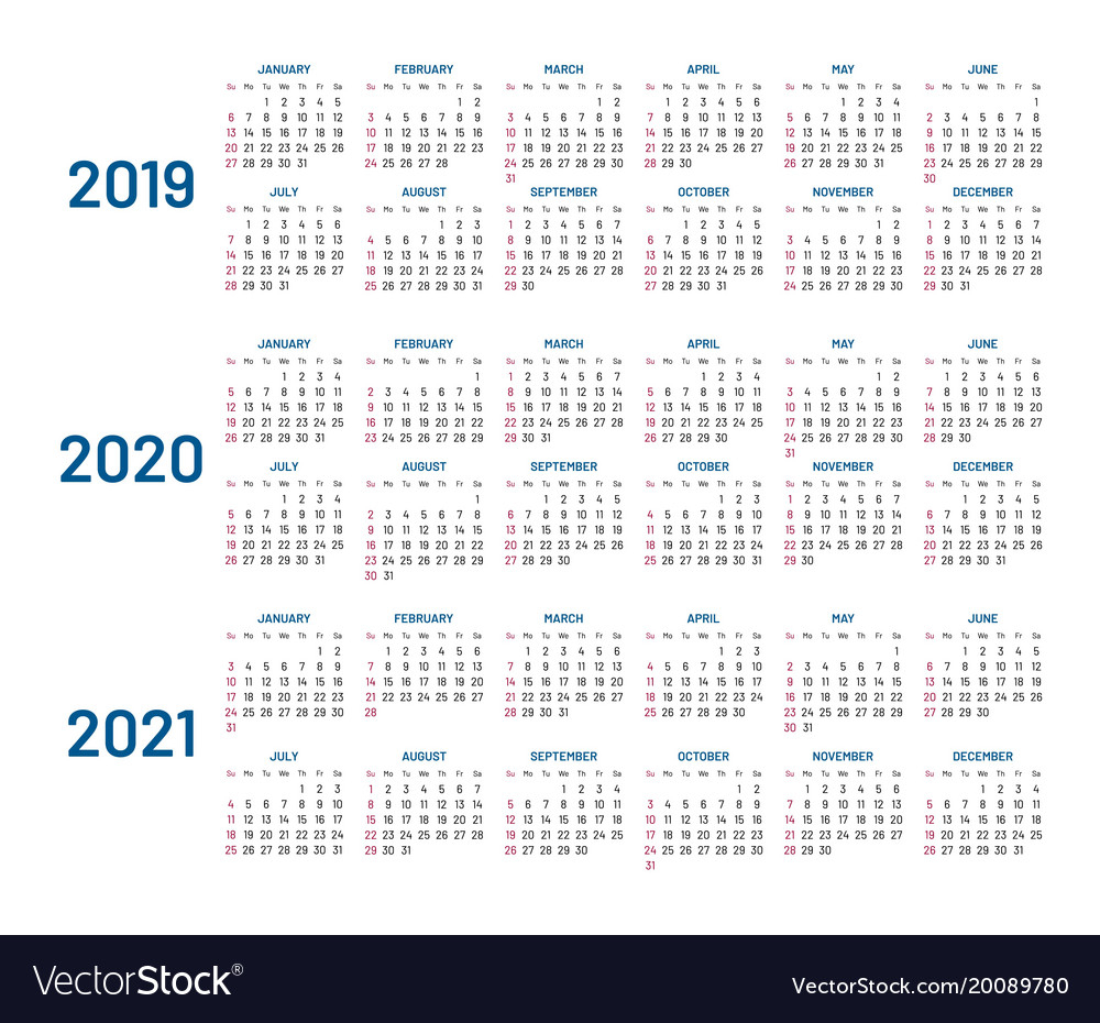 Three Years Calendar 2019 2020 2021 Isolated throughout Calendar Yearly 2019 2020 2021