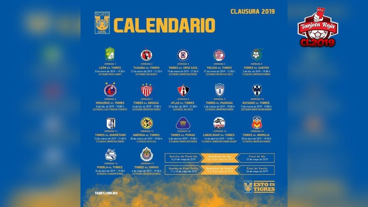 Tigres Uanl Calendario Oficial | Clausura 2019 | Liga Mx regarding Calendario Liga Mx 2019 2020