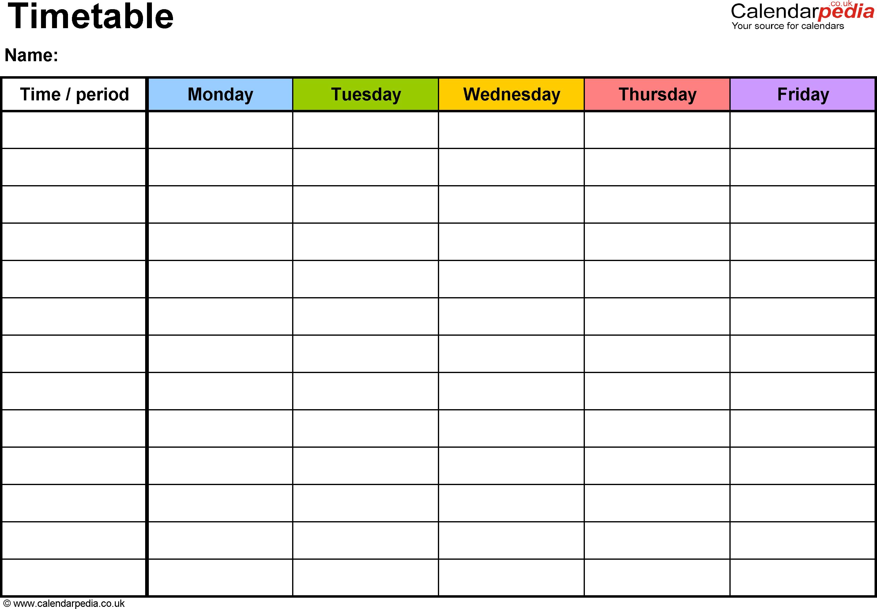 Timetable Templates For Microsoft Excel - Free And Printable inside Frame Birthday Calendar Templates Free