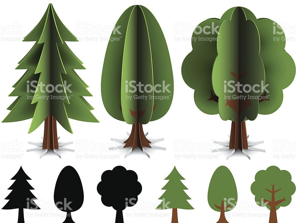 Trees Made Out Of Paper. Illustration Contain Transparencies And Is throughout Printable Christmas Tree Templates 3D
