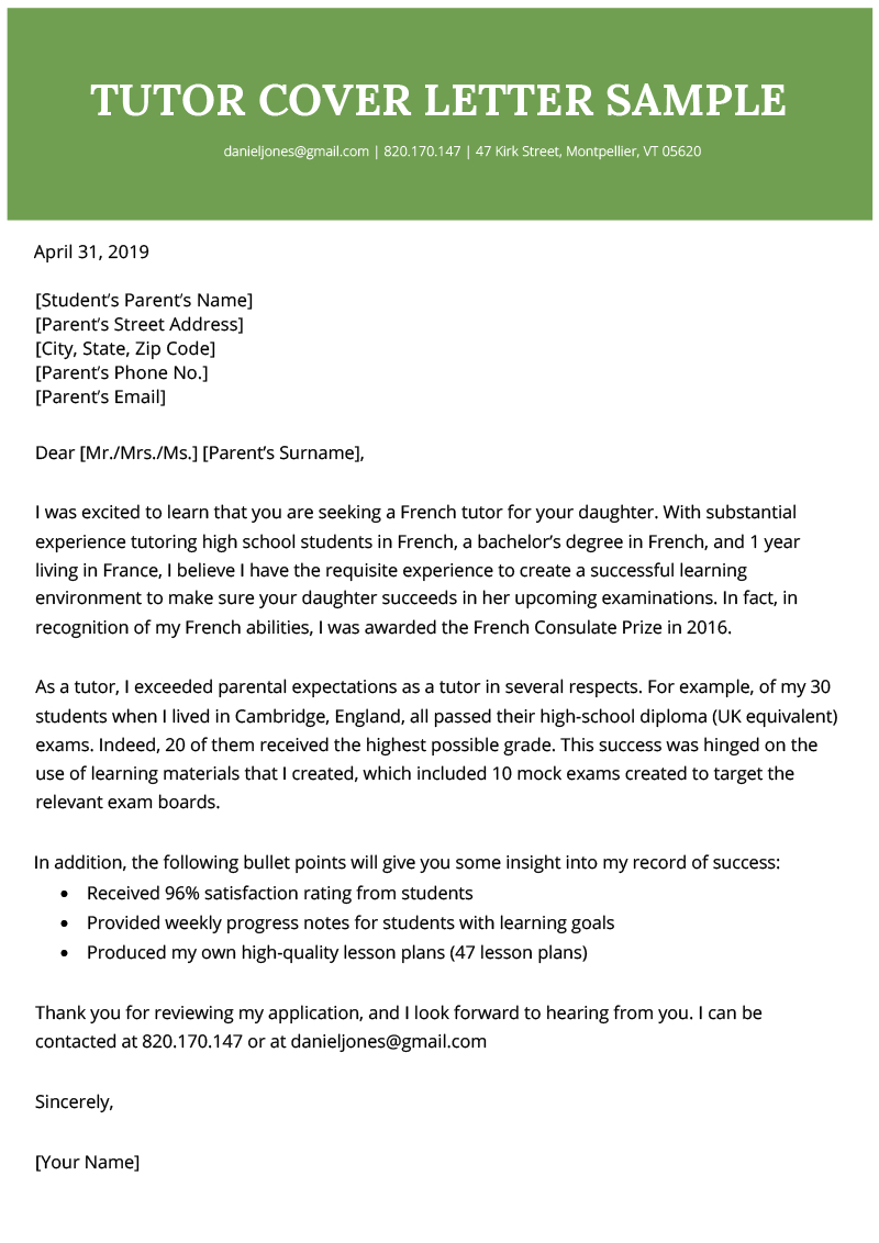 Tutor Cover Letter   Free Downloadable Sample   Resume Genius throughout Tutoring Template To Fill Out Weekly
