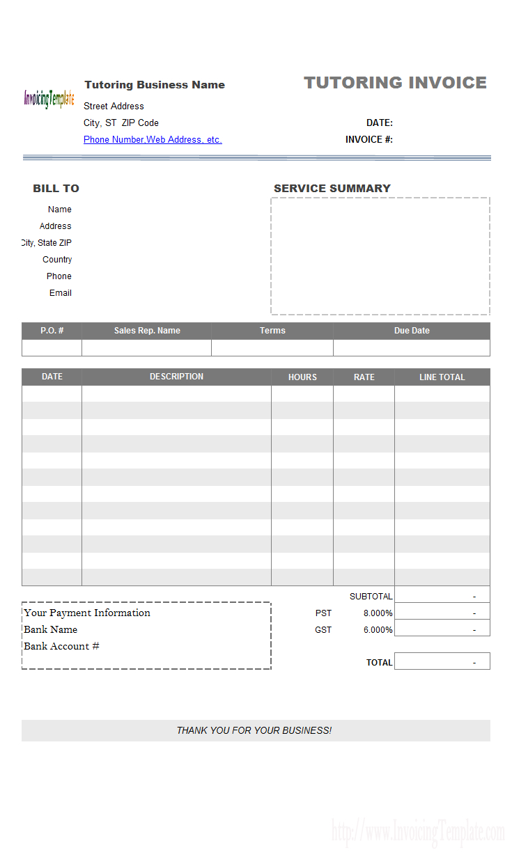 Tutoring Invoice Template regarding Tutoring Template To Fill Out Weekly