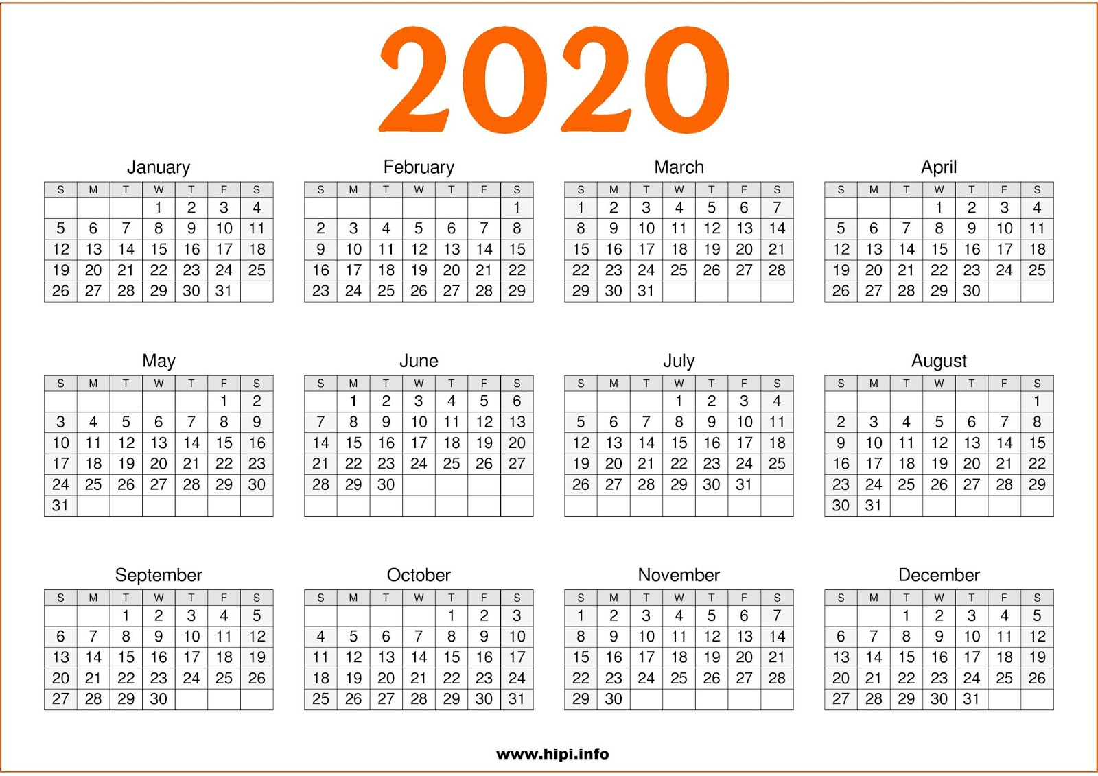 Twitter Headers / Facebook Covers / Wallpapers / Calendars: 2020 for 2020 Calendar Printable One Page