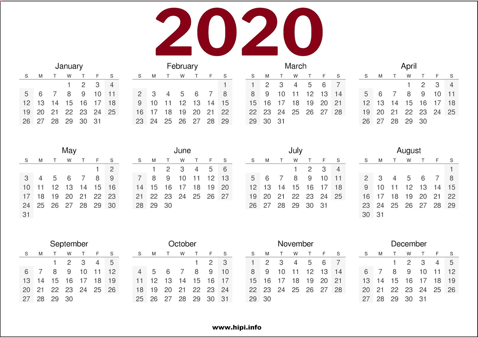 Twitter Headers / Facebook Covers / Wallpapers / Calendars: 2020 intended for 2020 Calendar Printable One Page