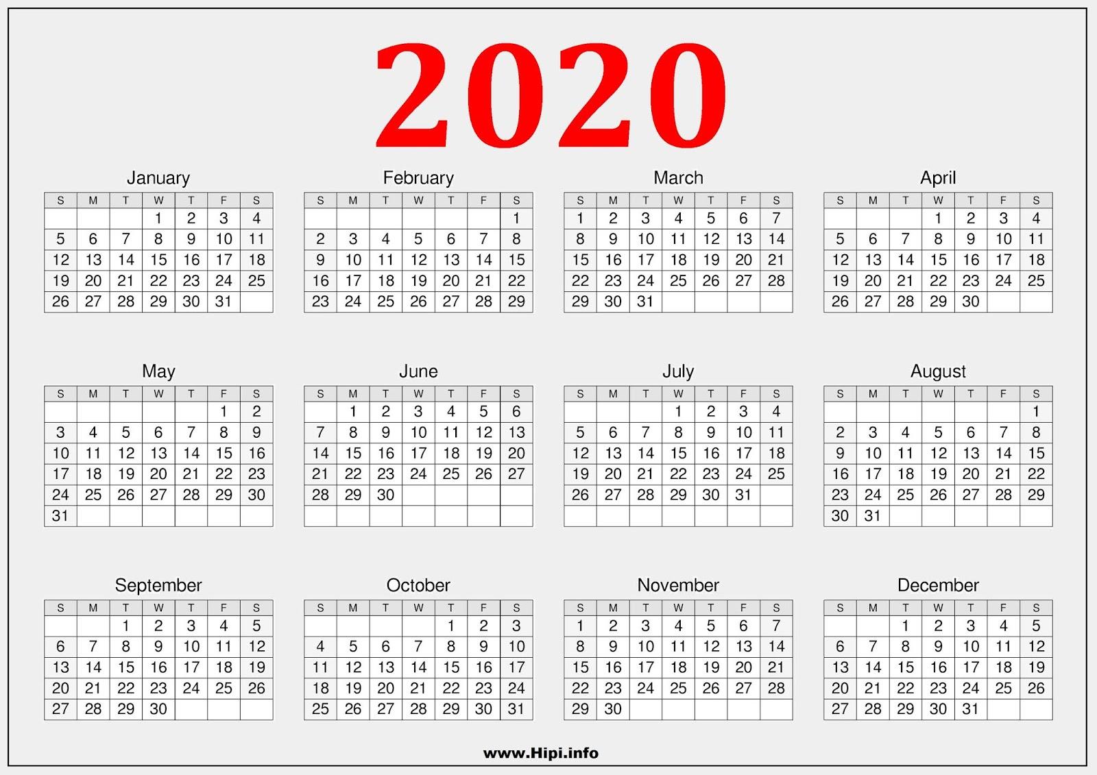 Twitter Headers / Facebook Covers / Wallpapers / Calendars: 2020 throughout Calendar 2019 2020 Free Download