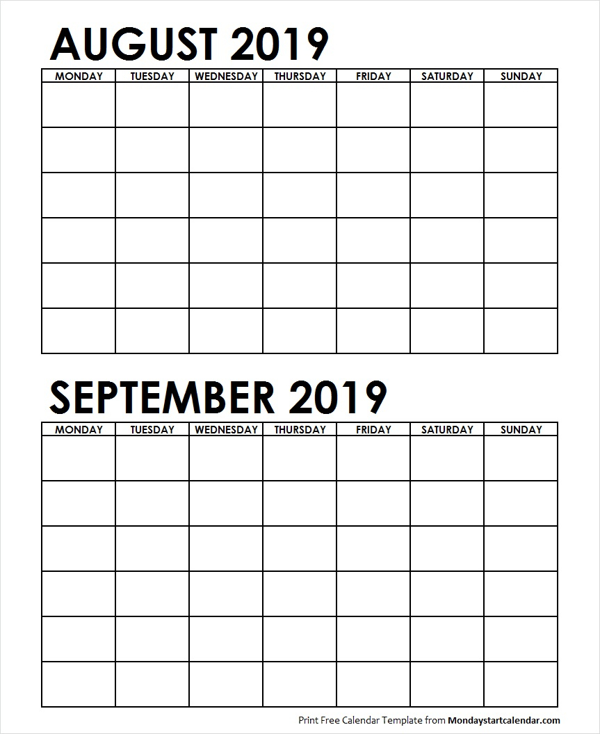 Two Month August September 2019 Calendar Blank pertaining to Blank August And September Calendar