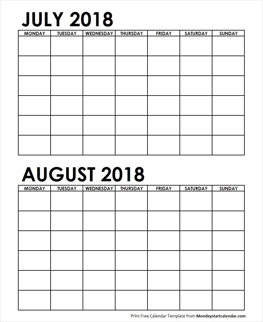 Two Month July August 2018 Calendar Blank | Two Months Template with Printable Blank Calendar July And August
