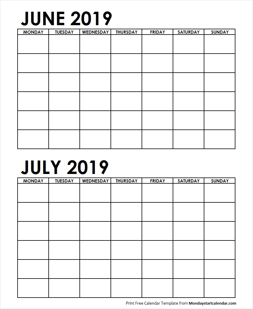 Two Month June July 2019 Calendar Blank | Two Months Template inside 2 Month Calendar Template June July
