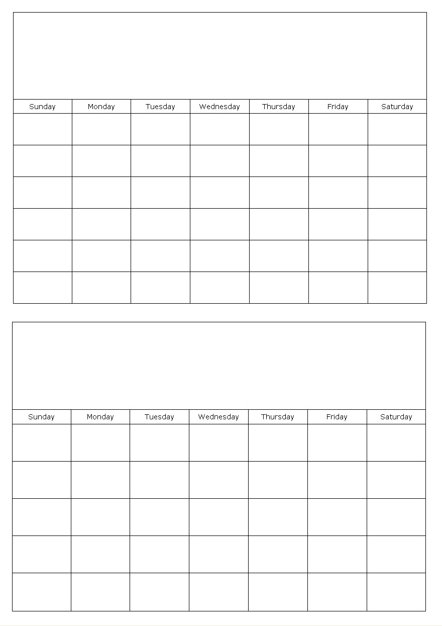 Two Months On A Page Blank Calendar Template in Template For Calendar By Month