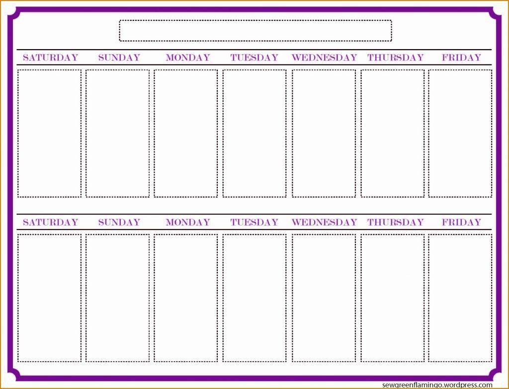Two Week Schedule Template Weeks Calendar Blank Printable Weekly intended for Blank Two Week Schedule Template