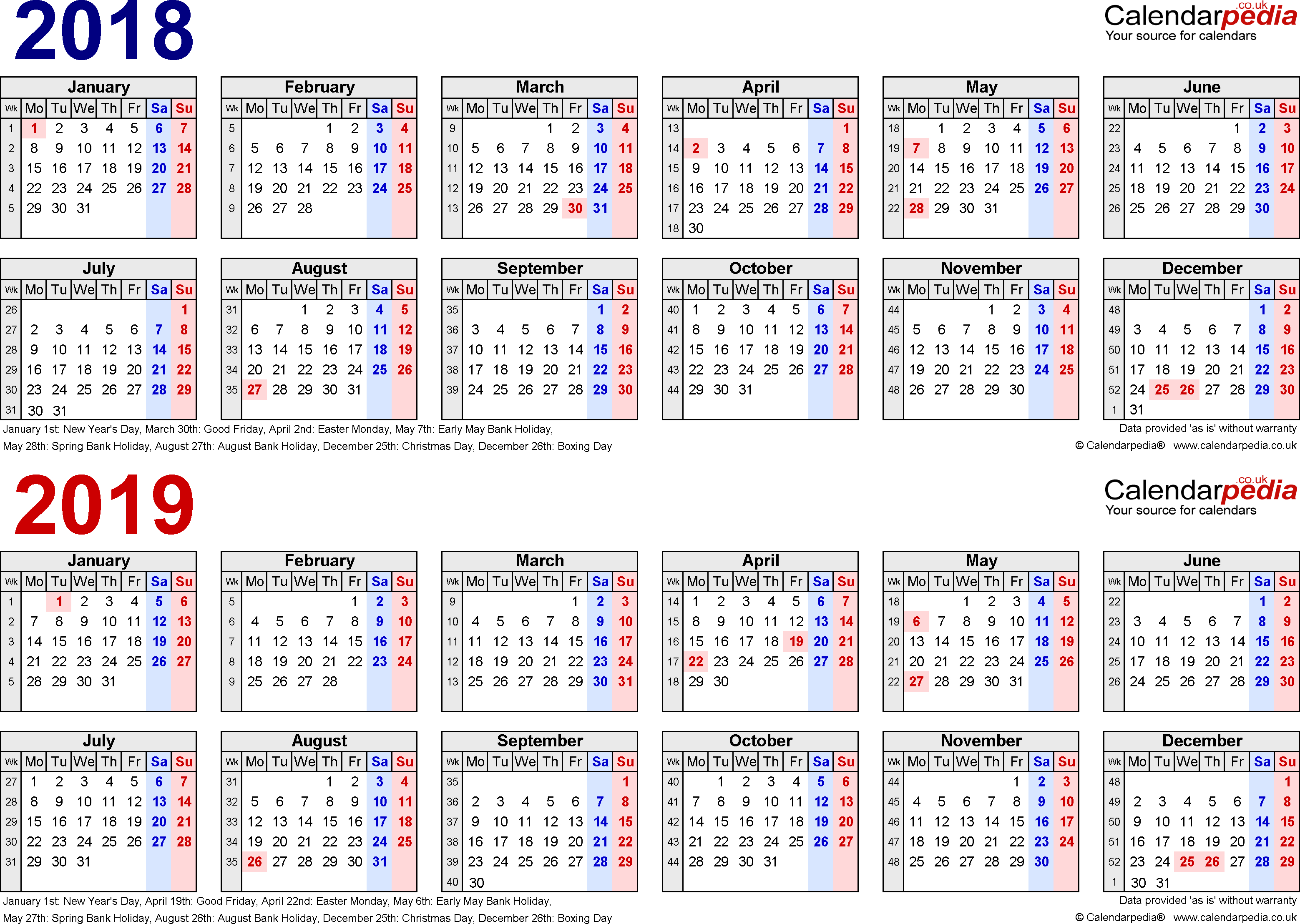 Two Year Calendars For 2018 & 2019 (Uk) For Excel with Template For Lunar Calendar