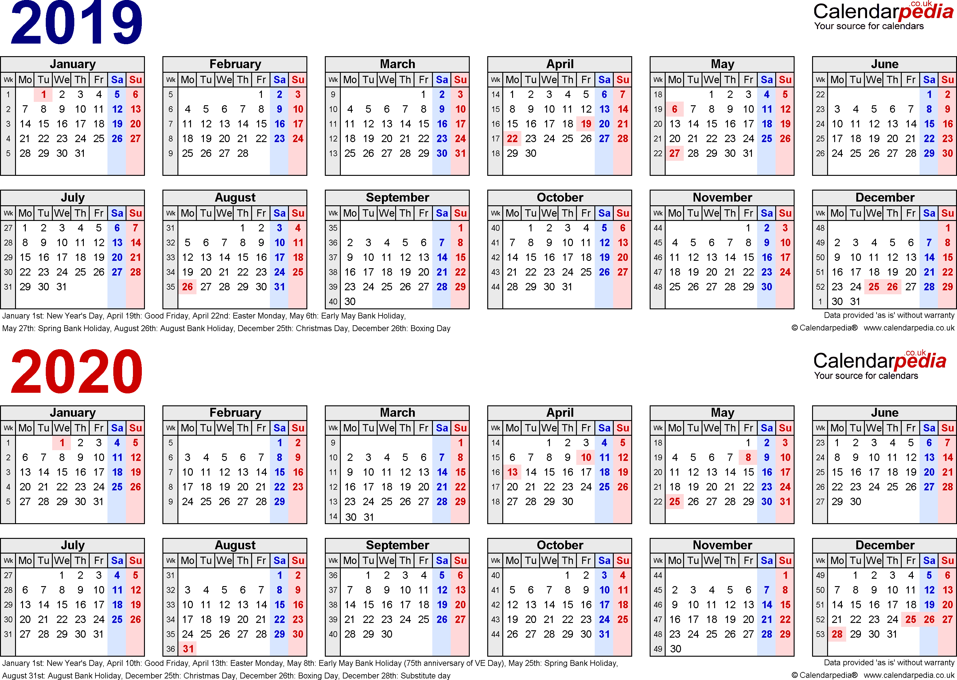 Two Year Calendars For 2019 & 2020 (Uk) For Pdf in Free Printable Calendar 2019 To 2020