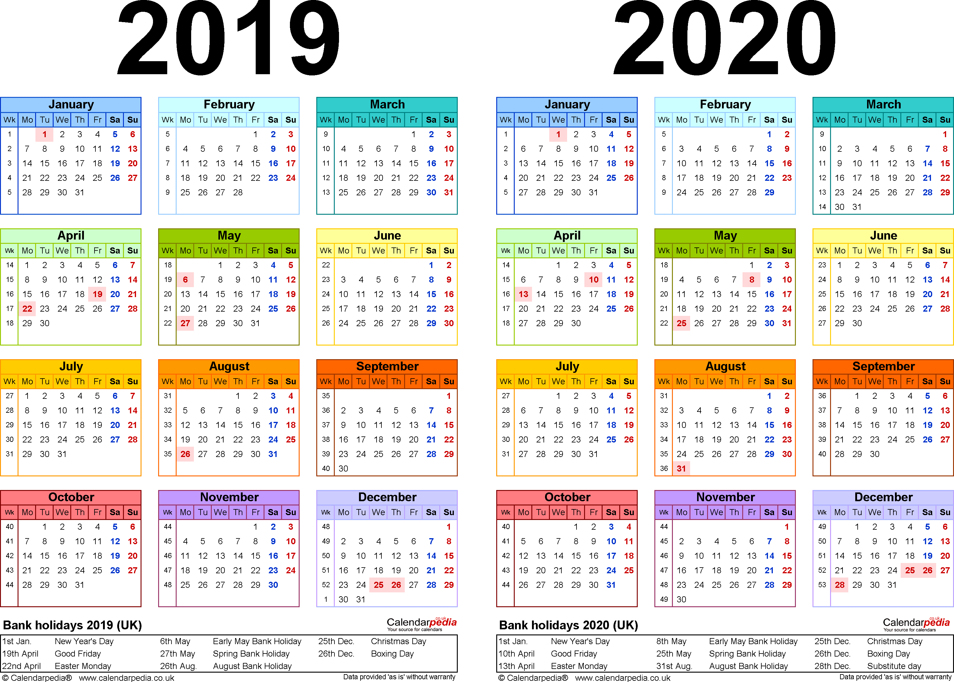 Two Year Calendars For 2019 & 2020 (Uk) For Pdf throughout Year Long Calendar For 2019-2020 Printable