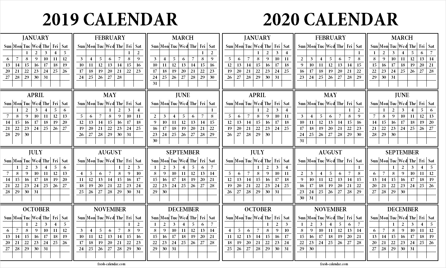 Two Yearly 2019 2020 Calendar Printable | Blank Calendar Template in Calander Single Page Printable 2019 2020