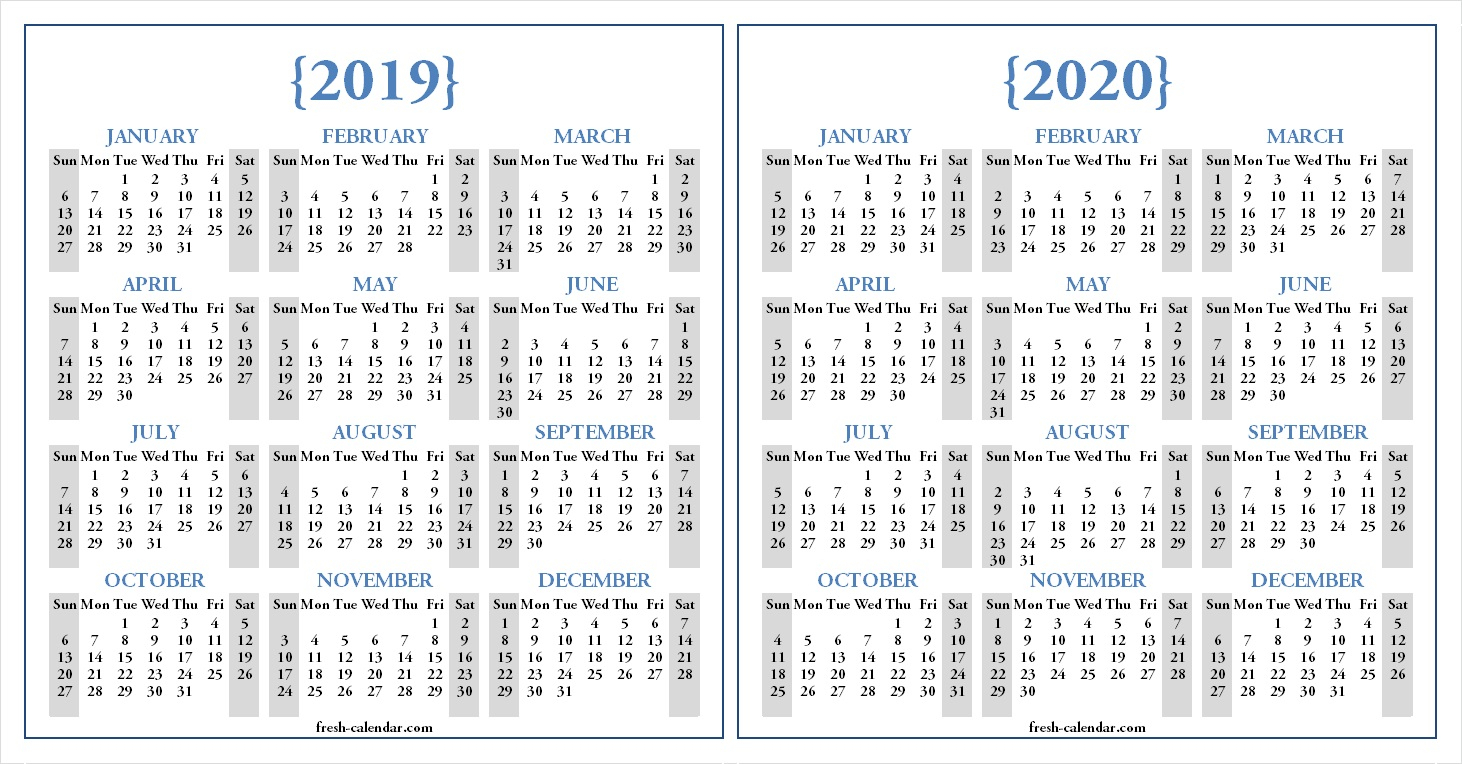 Two Yearly 2019 2020 Calendar Printable | Blank Calendar Template inside Printable Calendar 2019 2020 Monday To Sunday