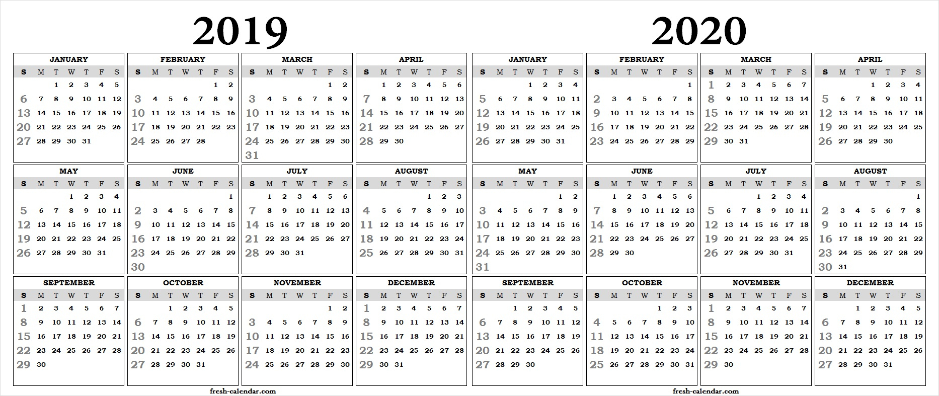 Two Yearly 2019 2020 Calendar Printable | Blank Calendar Template within 2019 And 2020 Calendar One Page