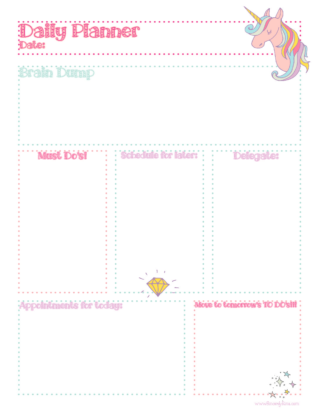 Unicorn Daily Planner Sheet: Free Printable – Sincerely Rina regarding Daily Planner Templates Pretty