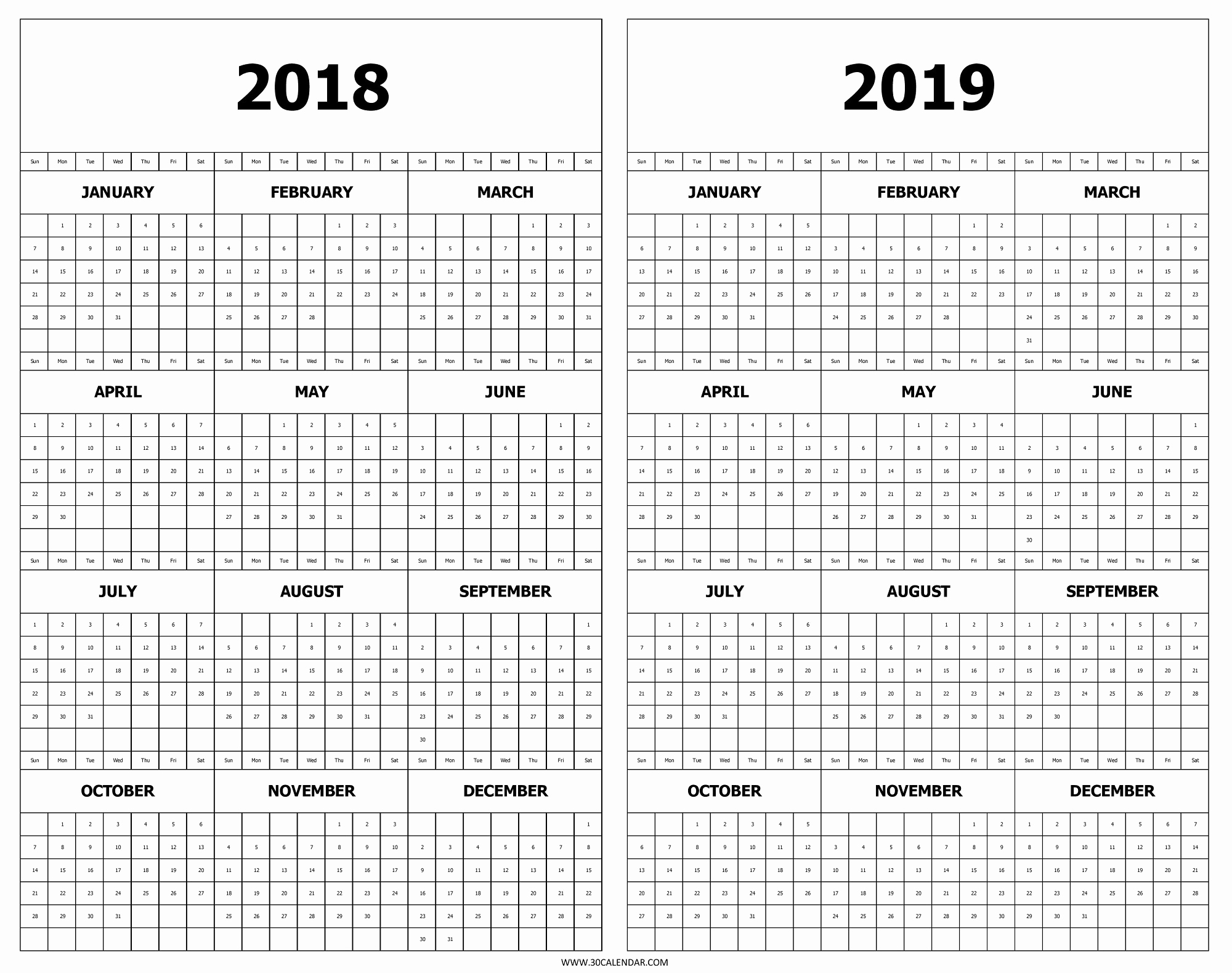 Unique 53 Sample Yearly Calendar At A Glance 2019 Printable throughout Year At A Glance Printable Calendar 2019/2020