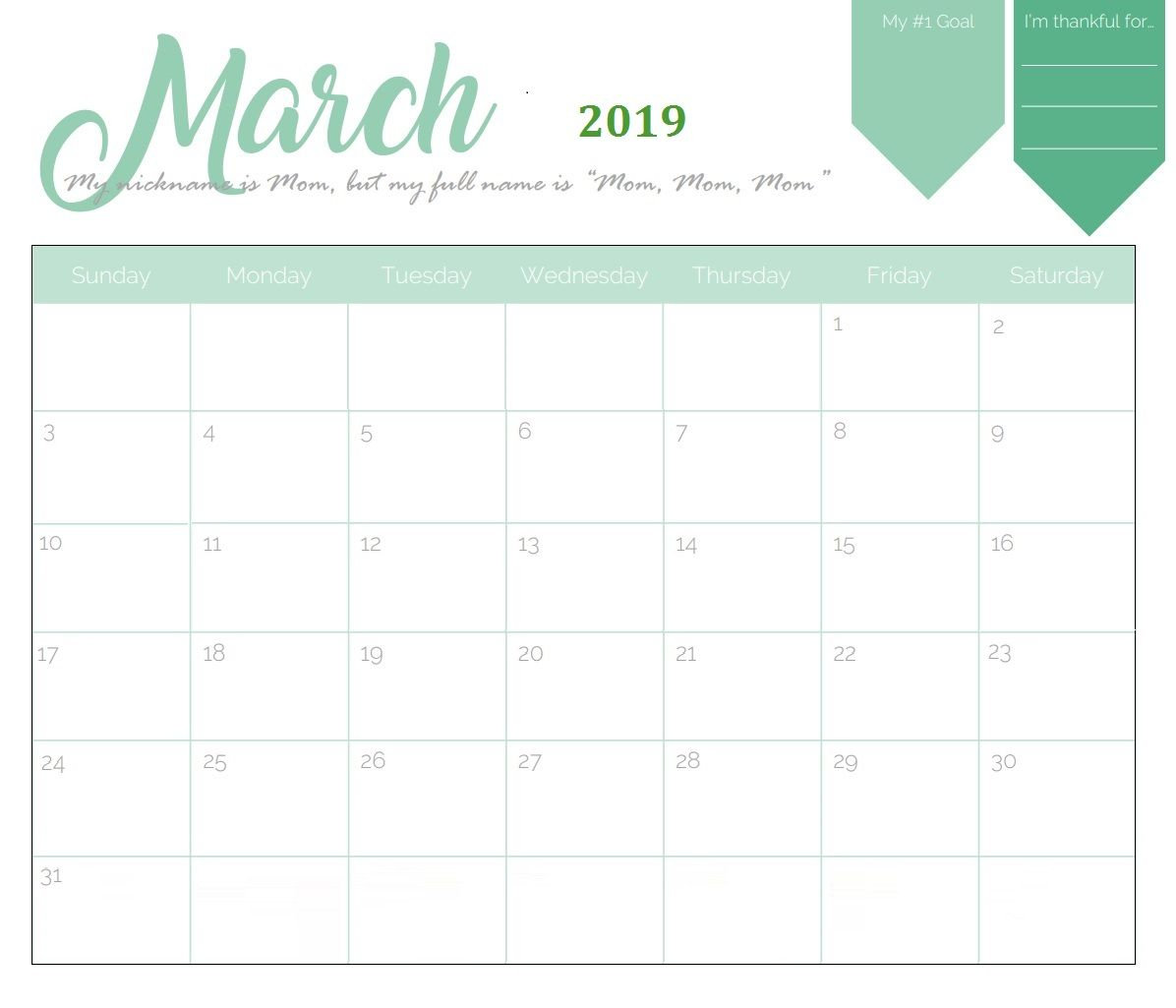 Unique March 2019 Calendar Template | Calendar 2018 | Calendar March with regard to Pretty Calendar Template Printable March