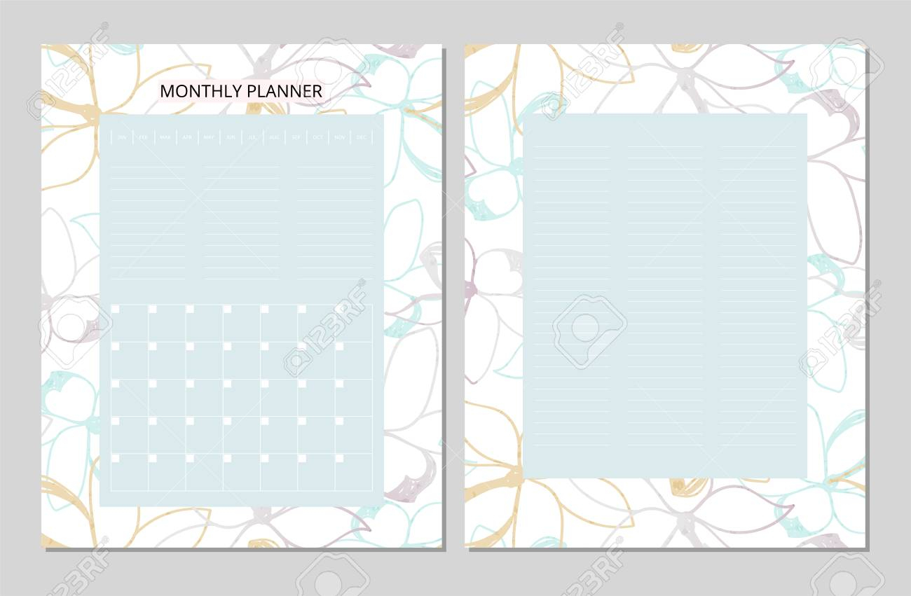 Universal Monthly Planner. Printable Template. Vector. Floral.. with regard to Doodle Monthly Planner Printer Templates