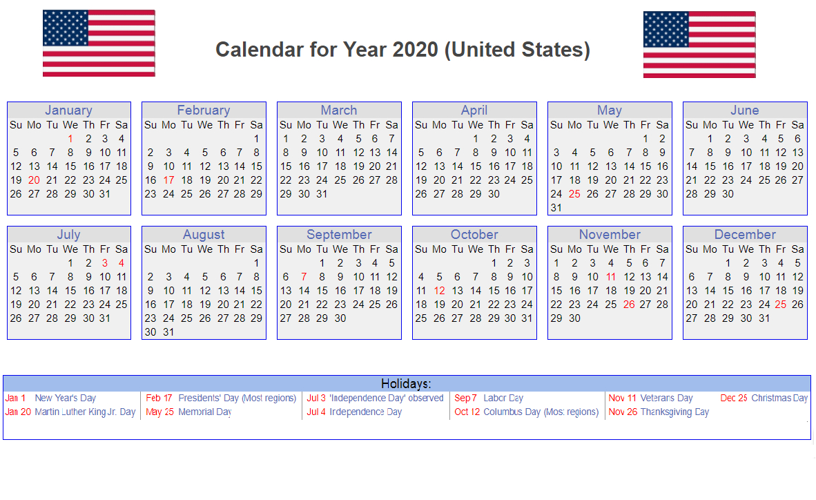 Us 2020 Calendar Yearly 12 Month Printable | Calendar 2020 throughout National Day Calendar 2020 Printable