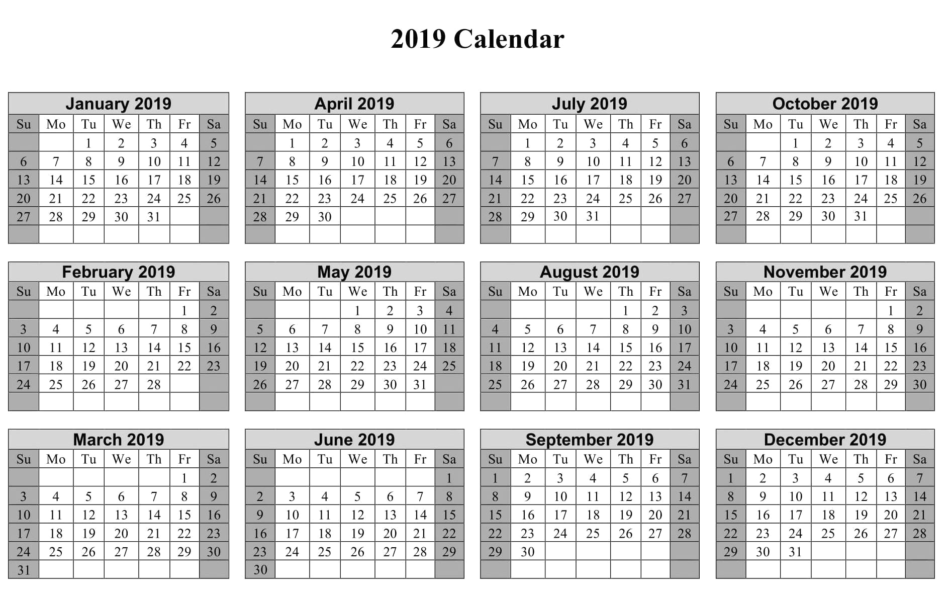 Vacation Calendar Template 2019 2019 Calendar Templates And Images pertaining to Cute Yearly Calendar Template