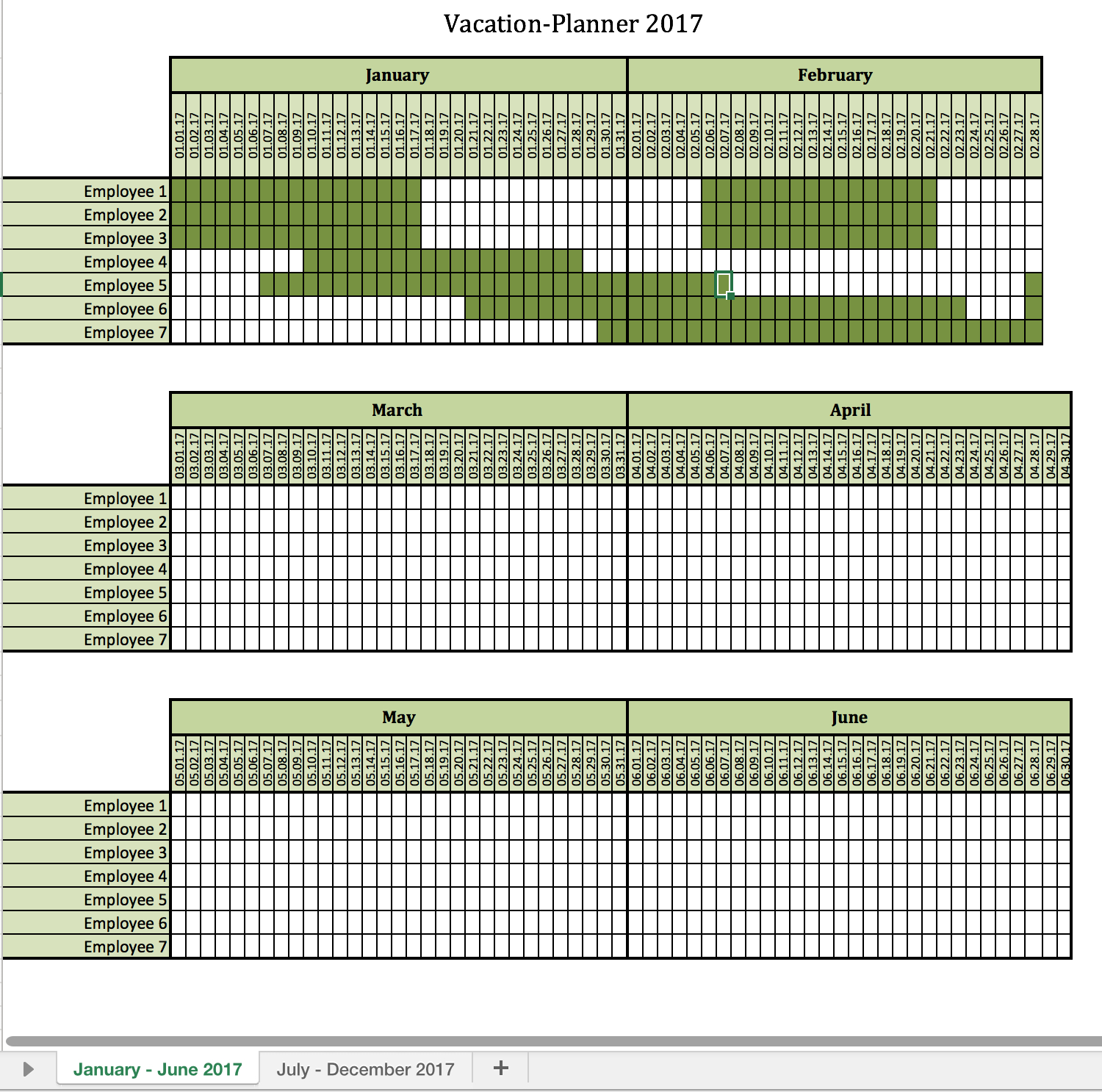 Vacation-Planner 2017 | Excel Templates For Every Purpose in Calendar Template Excel Vacations
