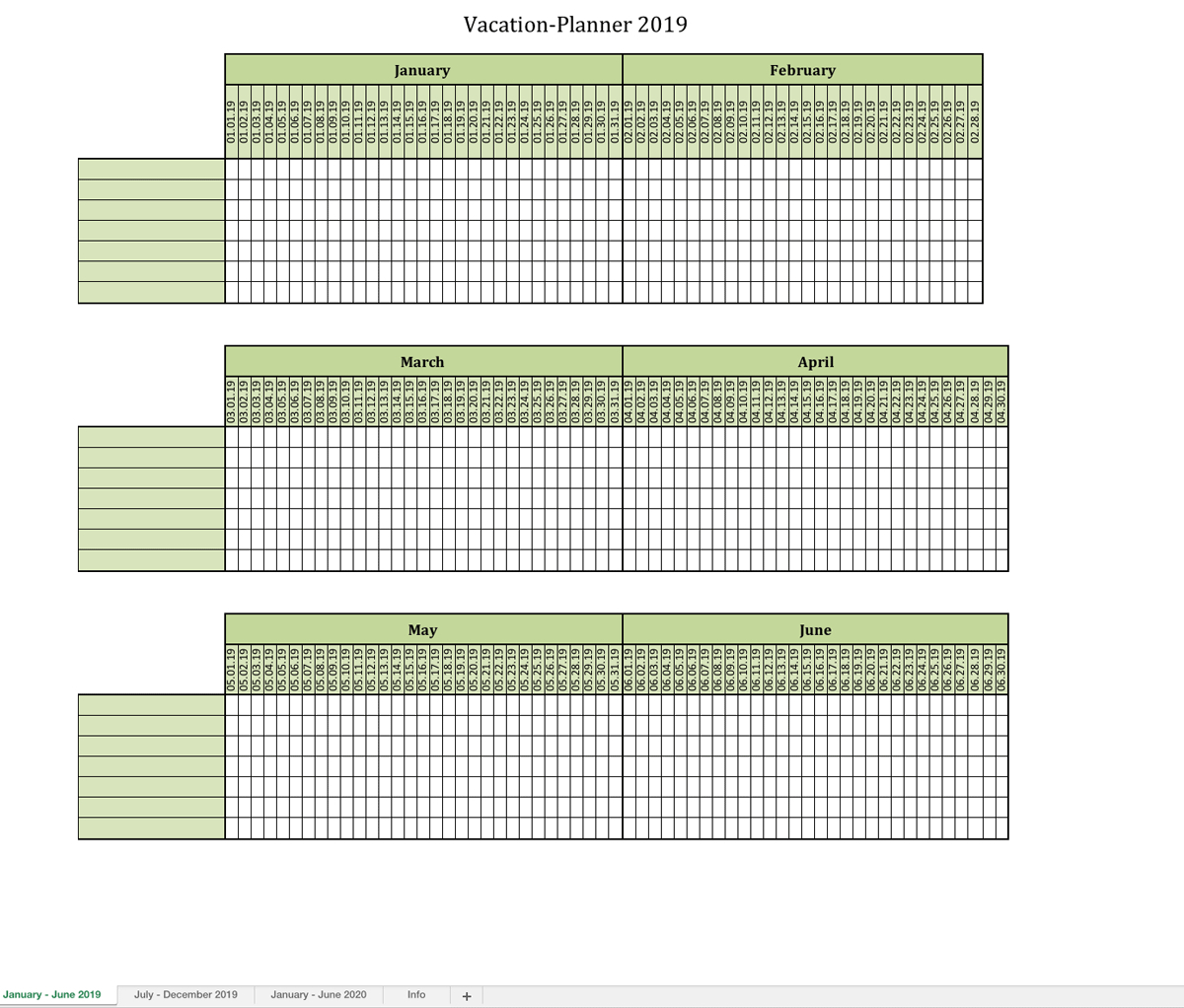 Vacation-Planner 2019 | Excel Templates For Every Purpose for Blank Monthly Holiday Sheet Template
