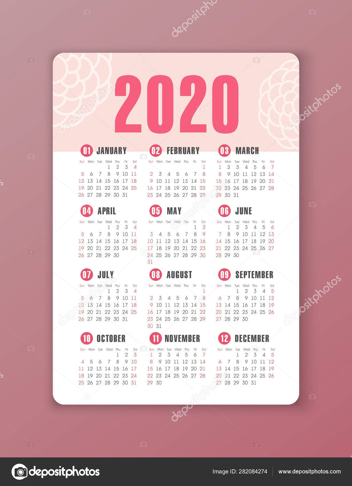 Vector Calendar 2020 Year. Week Starts From Sunday — Векторное pertaining to 2020 Printable Calendar With Sunday And Saturday Pink Color