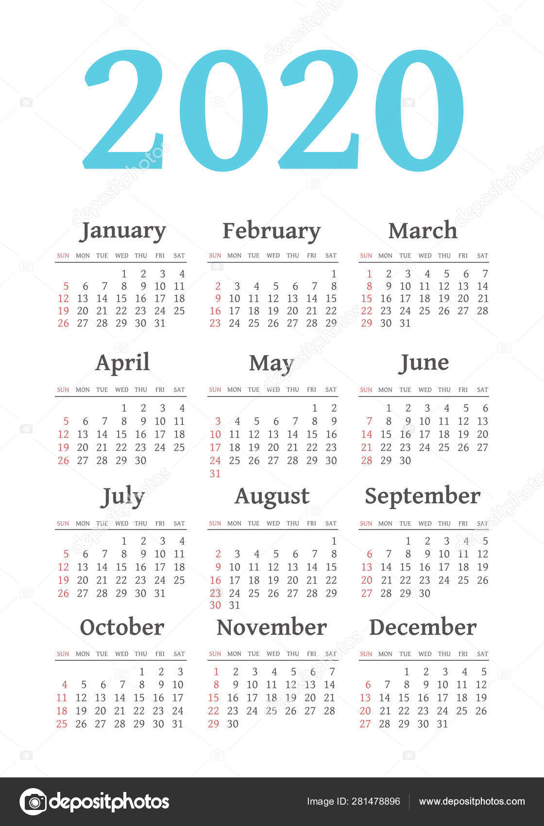 Vector Calendar 2020 Year. Week Starts From Sunday — Векторное pertaining to Printable Calendar2020 Monday To Sunday