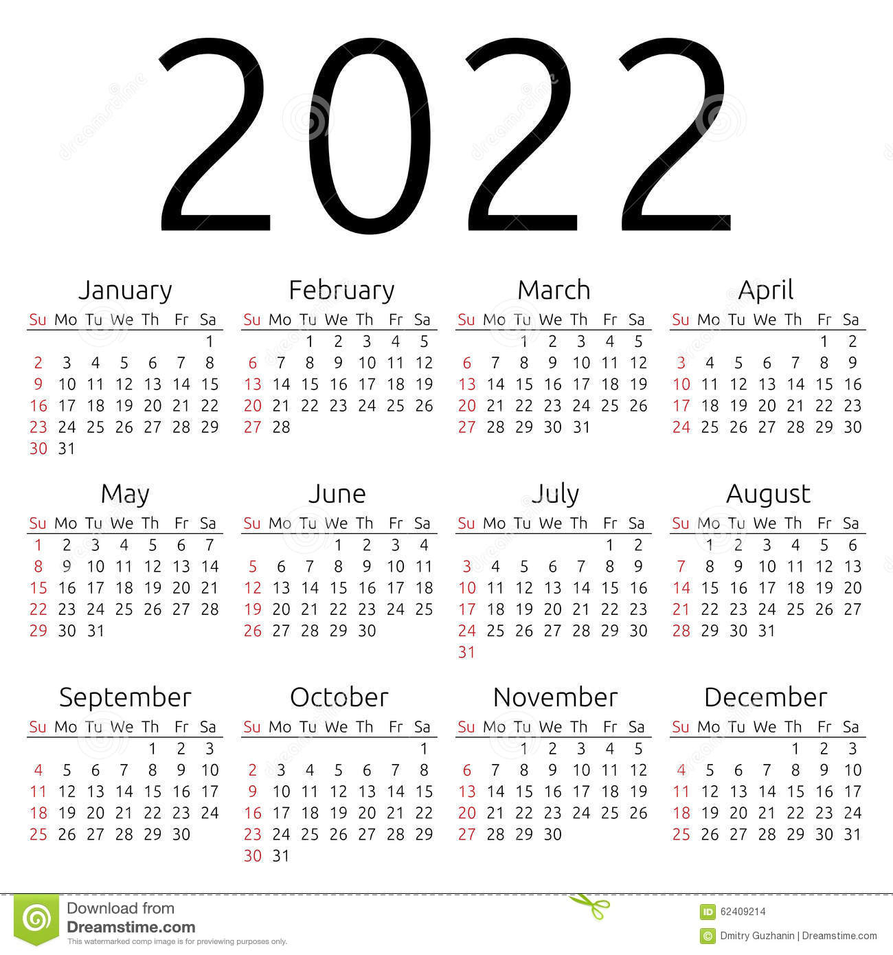 Vector Calendar 2022, Sunday Stock Vector - Illustration Of Digit throughout Blank Year Long Calendar 2022