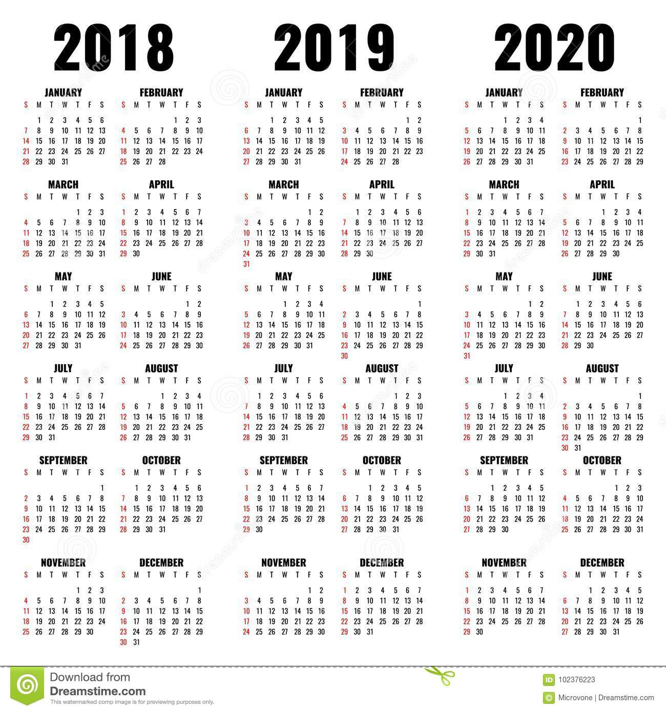 Vector Calendar Template 2018, 2019 And 2020 Years Stock Vector pertaining to 3 Year Calendar Printable 2018 2019 2020