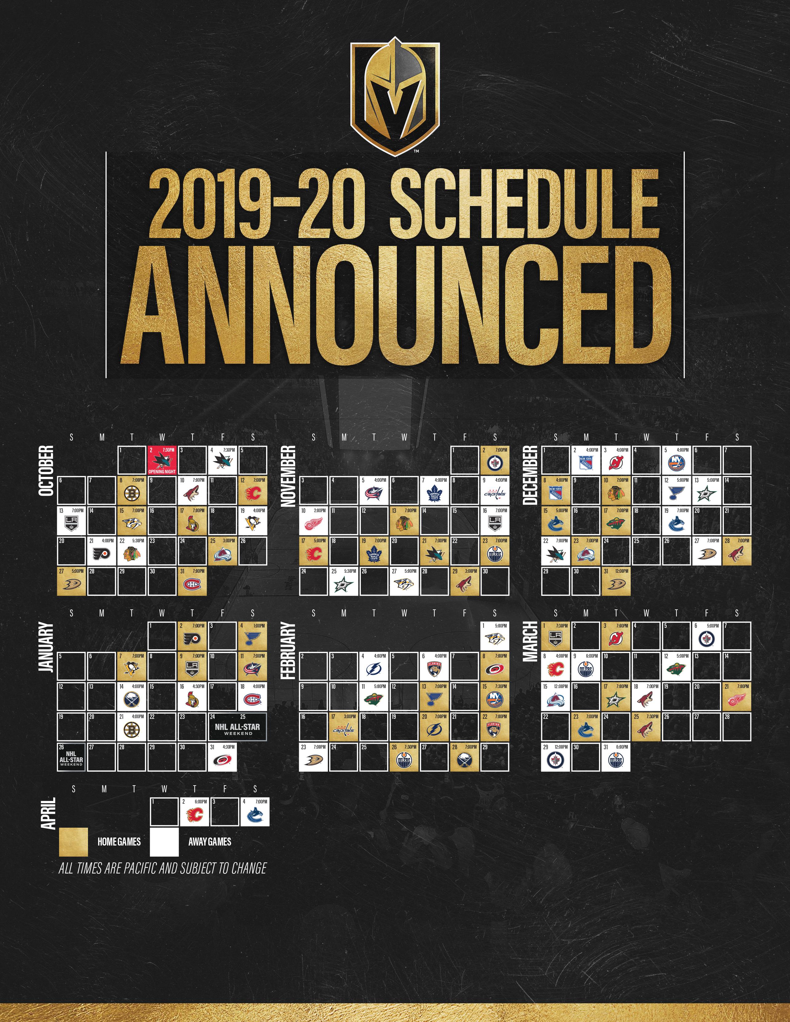 Vegas Golden Knights Schedule | Vegas Golden Knights for Complete Nashville Predators 2019-2020 Schedule