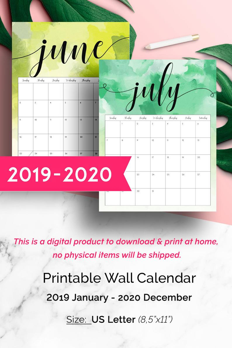 Wall Calendar 2019-2020, Watercolor Calendar 2019, 2019 Printable Monthly  Wall Calendar, 2019-2020 Printable Calendar, 2019 Wall Planner Pdf with regard to 2020 Wall Calendar Kikki K