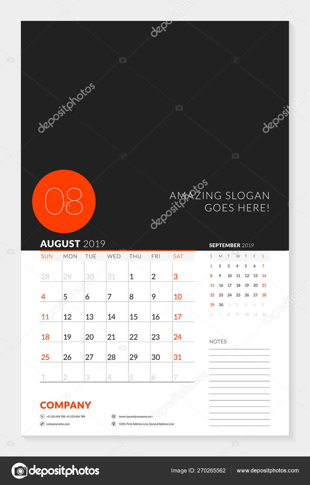 Wall Calendar Planner Template For 2019 Year. 2 Months On The Page for 2 Week Schedule Template Mon- Sunday