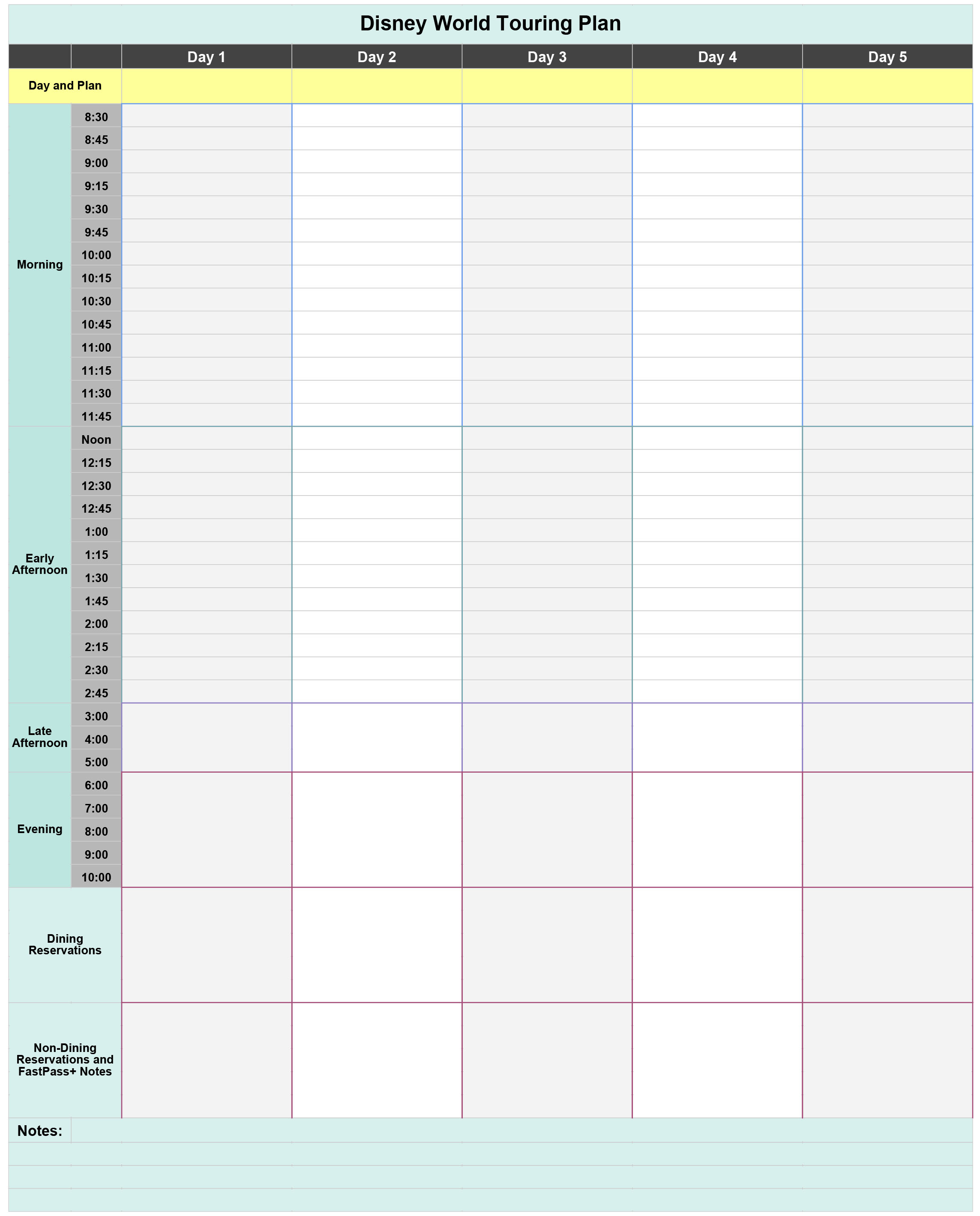 Walt Disney World Touring Plan Spreadsheet - Dream Plan Fly with regard to Disney World Itinerary Template Blank