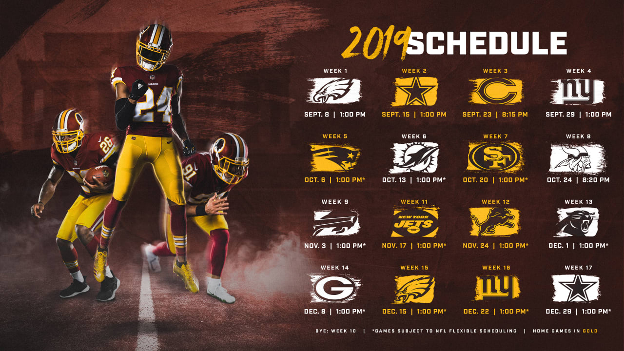 Washington Redskins Release 2019 Schedule with regard to Free Printable 2019-2020 Nfl Season Schedule