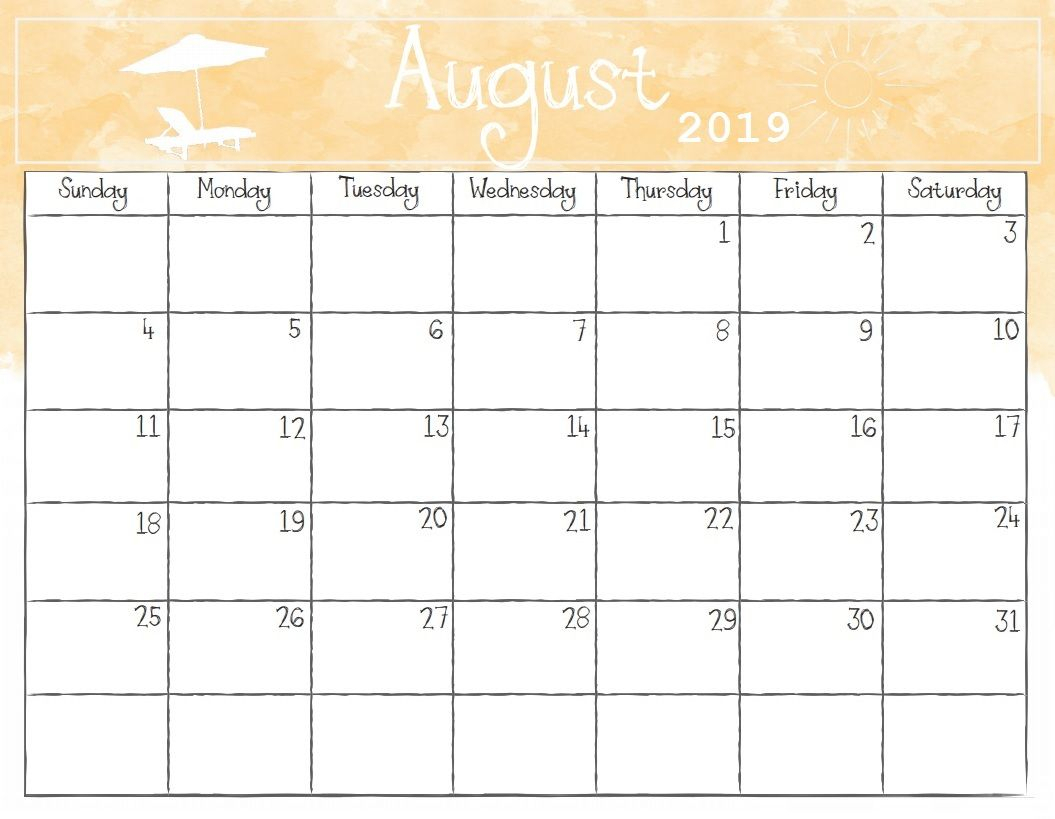 Watercolor August 2019 Calendar | Calendar 2018 | 2019 Calendar with August Fun Calendar Template