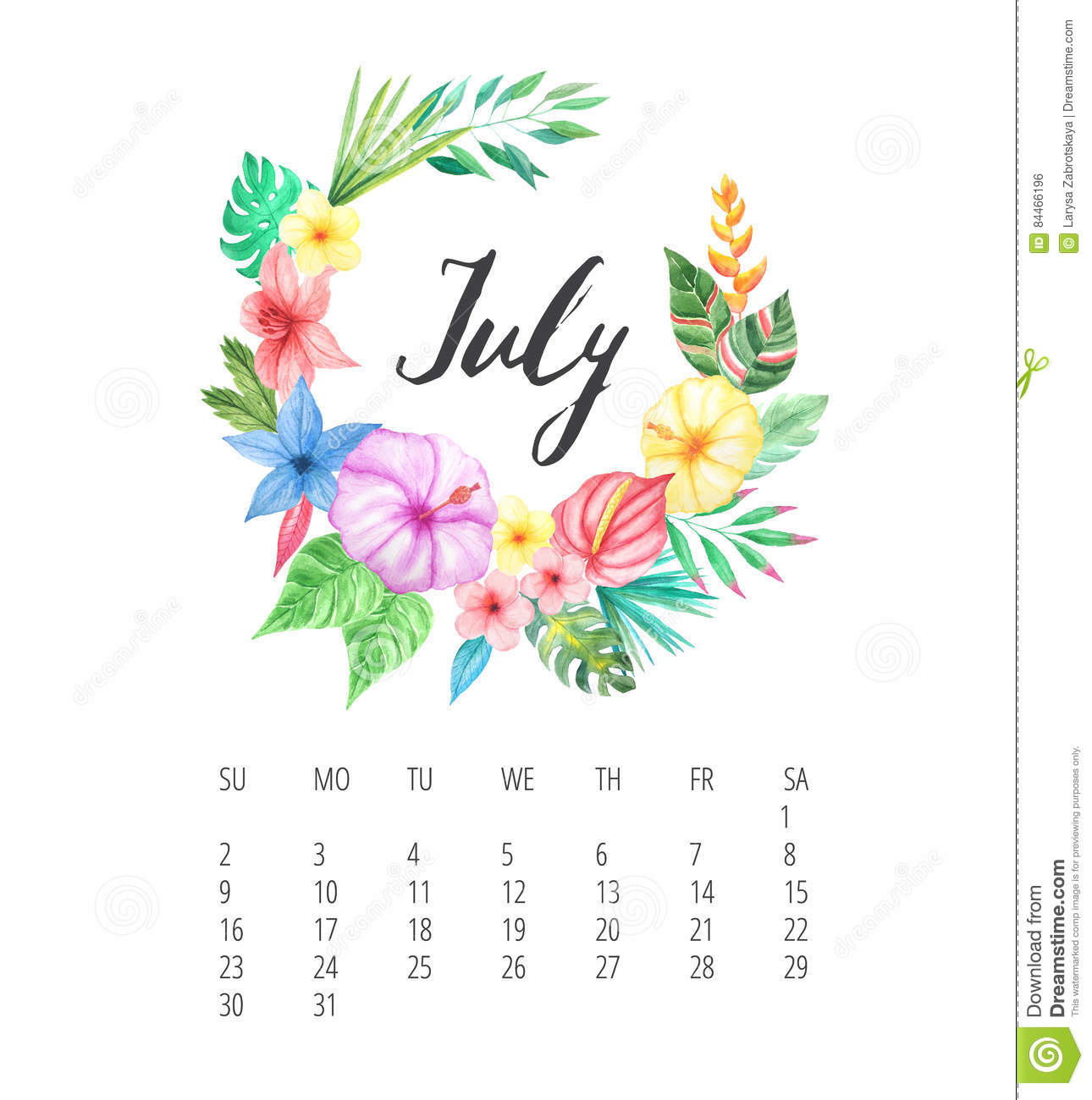 Watercolor Calendar Template For July 2017 Year Stock Illustration with regard to July Calendar Template Flowers