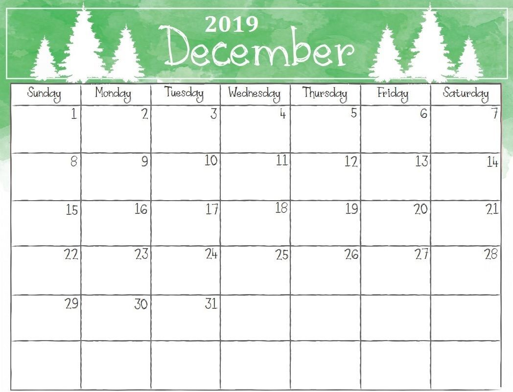 Watercolor December 2019 Calendar #december #december2019 for Christmas Themed Calendar Templates