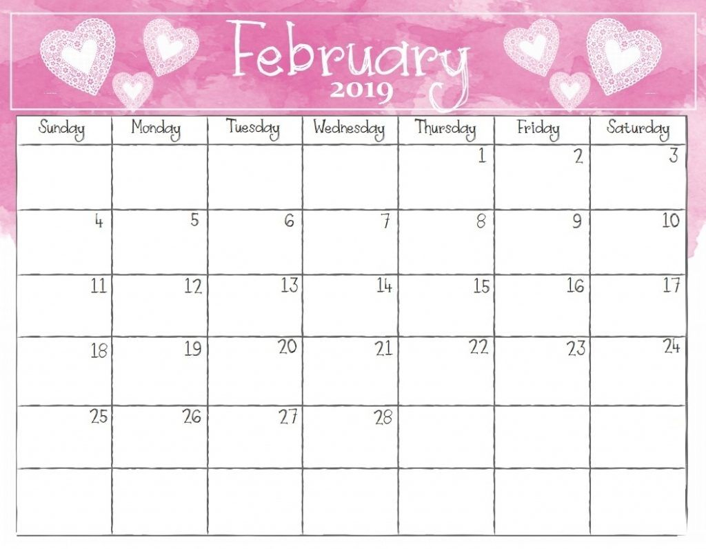 Watercolor February 2019 Calendar Template #februarycalendar in Free Cute Printable Calendar Templates