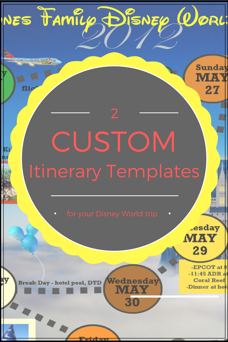Wdw Itinerary Templates - Free & Printable - Available In Both Word within Disney World Itinerary Template Blank