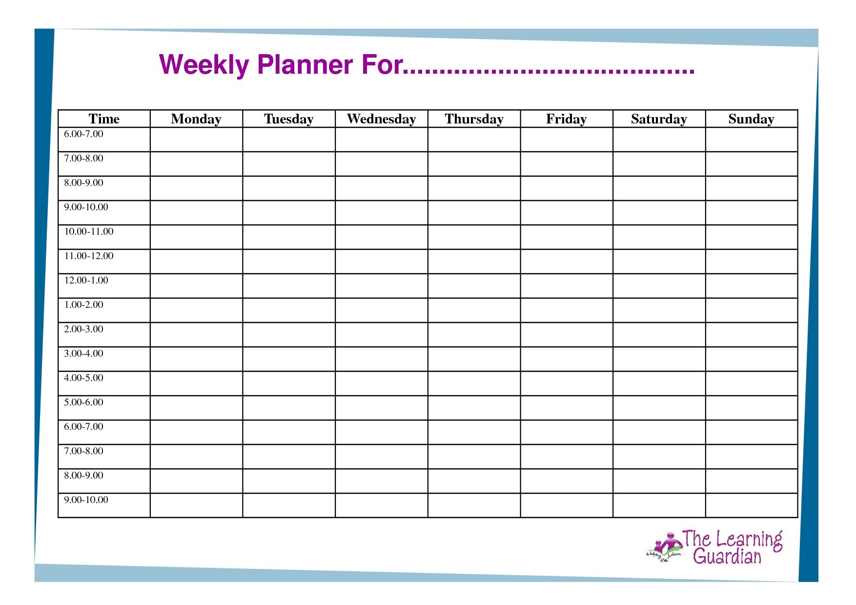 Week Calendar Template Day Blank | Smorad intended for 7 Day Week Blank Calendar