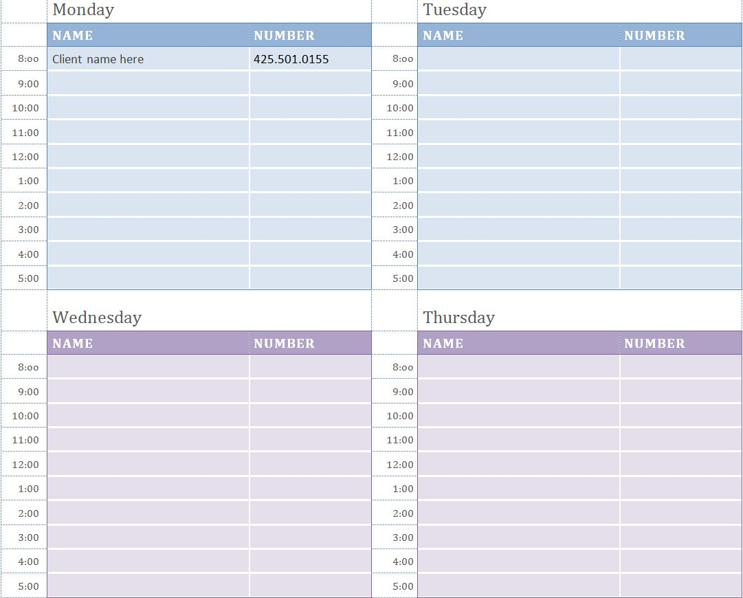 Weekly Appointment Calendar | Weekly Appointment Calendar Template intended for Free Appointment Calendar Template