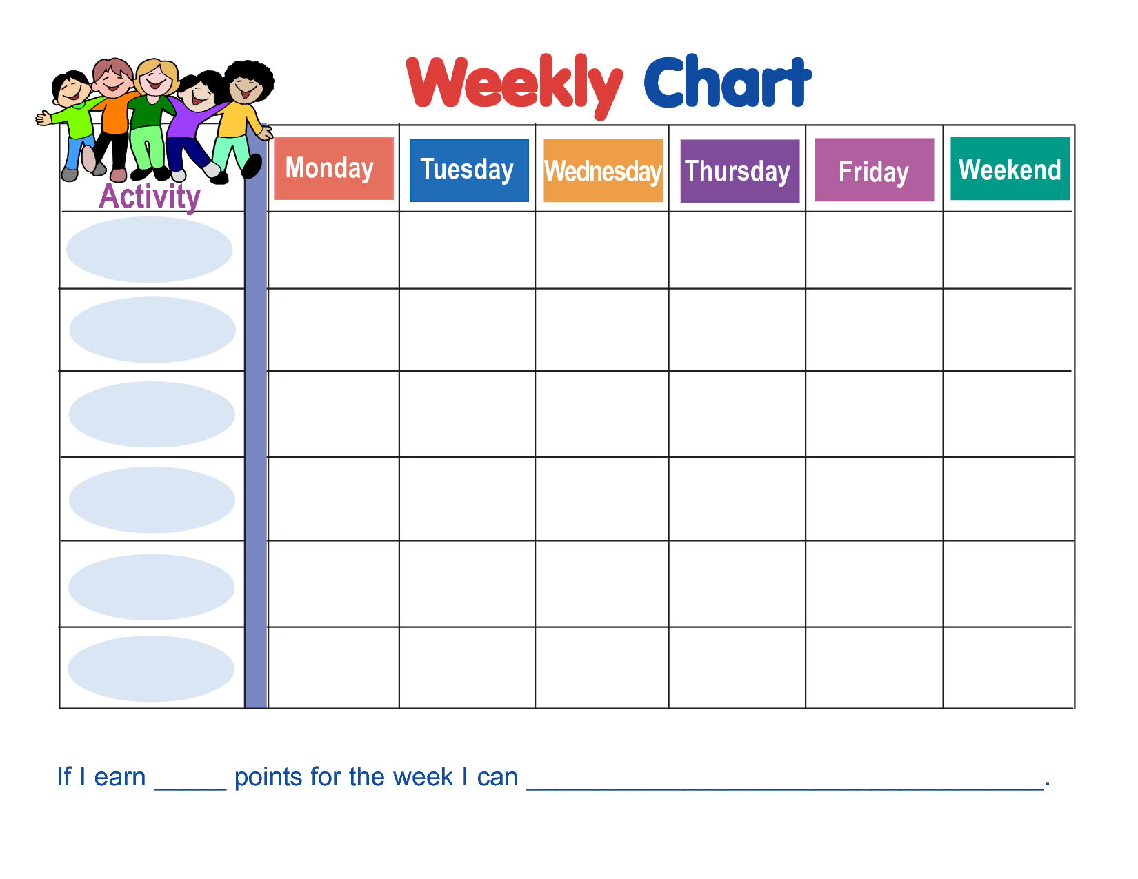 Weekly Behavior Chart Template | Wyatt | Weekly Behavior Charts in Free Printable Blank Behavior Charts