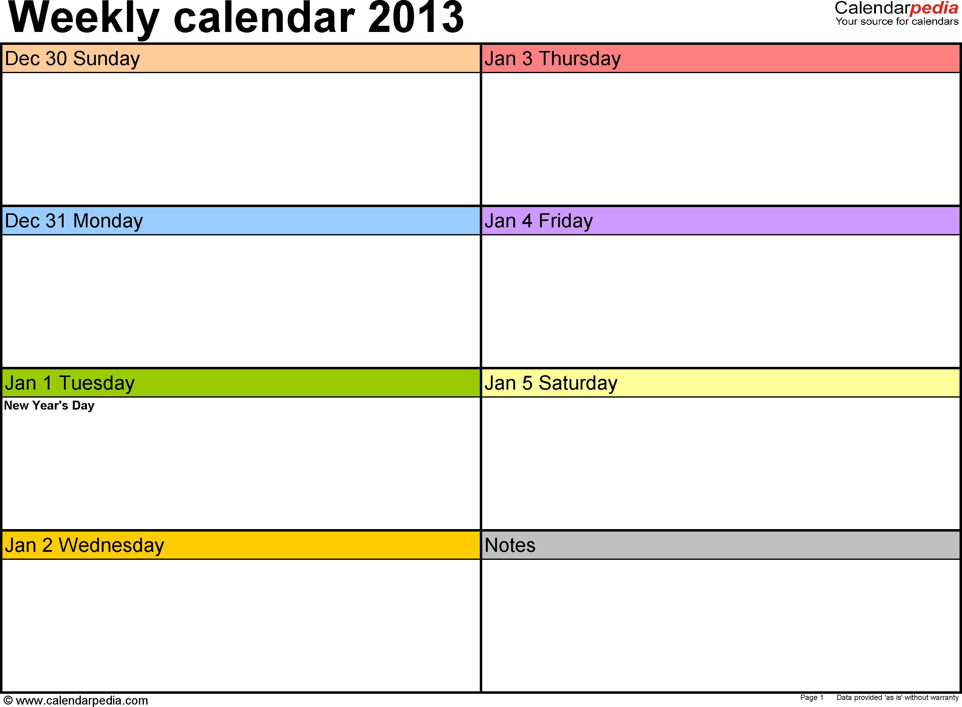 Weekly Calendar 2013 For Excel - 4 Free Printable Templates for Weekly Claendat Template For