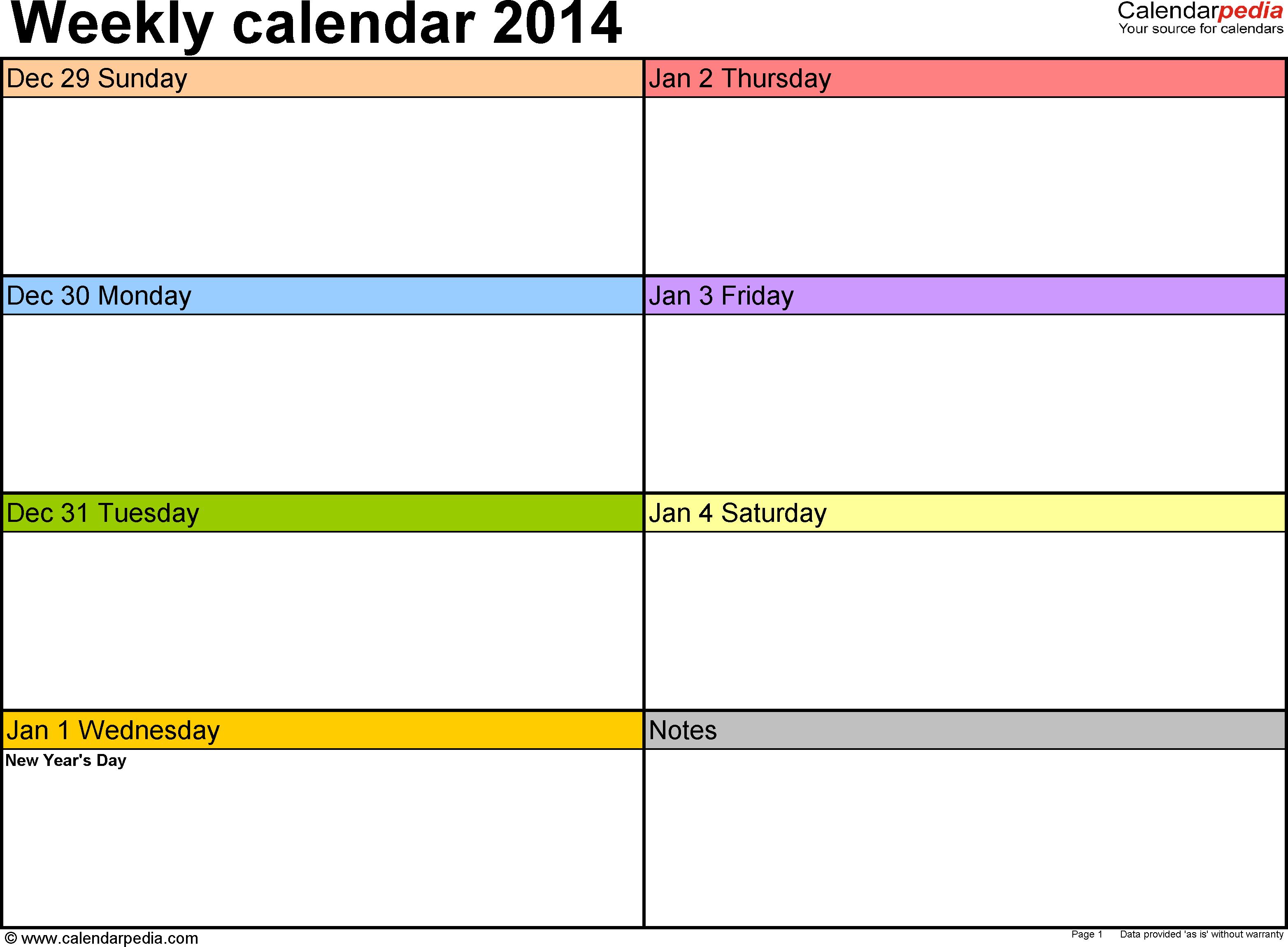 Weekly Calendar 2014 For Pdf - 4 Free Printable Templates inside 1 Week Blank Calendar Template