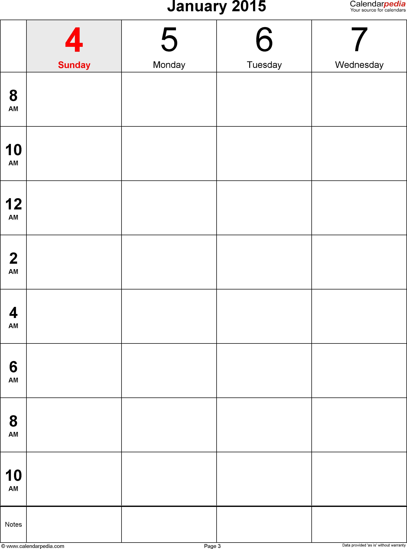 Weekly Calendar 2015 For Pdf - 12 Free Printable Templates intended for Printable Blank 12 Week Calendar Template