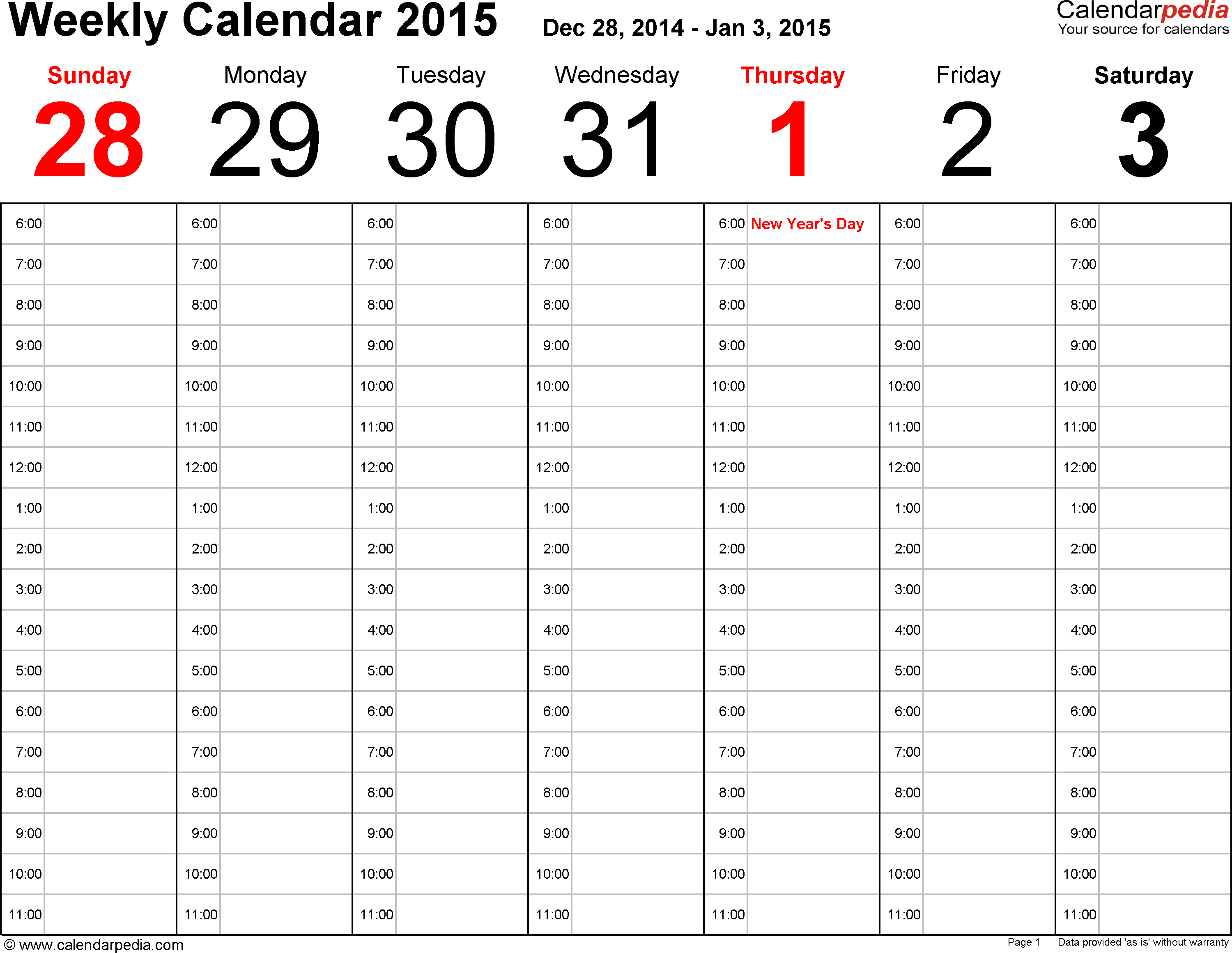 Weekly Calendar 2015 For Pdf - 12 Free Printable Templates intended for Printable July Employee Template