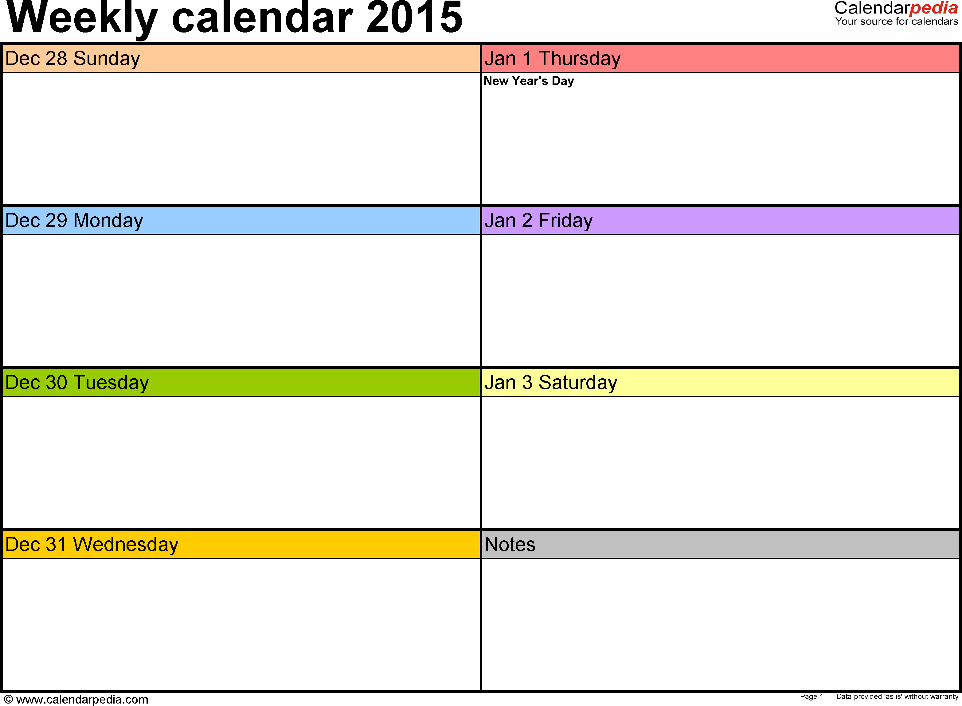 Weekly Calendar 2015 For Pdf - 12 Free Printable Templates within 7 Day Calendar Template Fillable